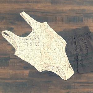 Creme Bohemian style Bodysuit
